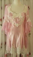 Jane Woolrich Pink & Cream Silk Chemise and Negligee with French Calias Lace