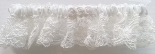 Jasmine White Satin & Lace Bridal Garter