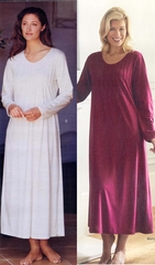 Luxurious Sensual Soft Cotton Knit-Nightgown-Pintucks-Long Sleeve-Ceril-Made in Italy