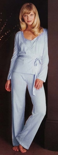 Jennifer Pretty 3 Pc. Cotton Knit Pajama Set in Lt. Blue - Made in Italy