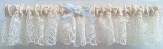 Princess Lace Garter - Ivory Satin, Blue Bow, Pearls