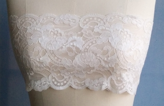 Rachelle - Luxury Bespoke Floral French Lace Bandeau - White - Made in USA by Pampour Couture