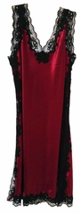 Sensual Silk Nightgown - Rosetta French Lace - Silk & Lace Nightgown w Side Slits and Low V Back