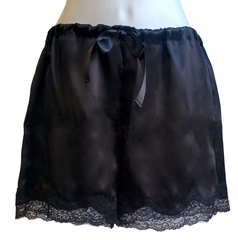 Sexy Black French Boxer For Her - 100% Silk - Made in USA with French Lace