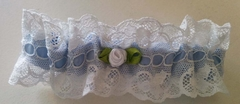 Bespoke Silk Bridal Garter - Coco Adele - Something Blue Keepsake - Luxury Silk and French Lace - Made in USA by Pampour Couture