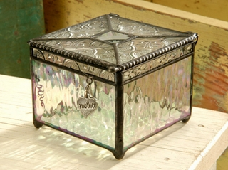 Vintage & Clear Iridized Mother-heart Art Glass Keepsake Jewelry Box