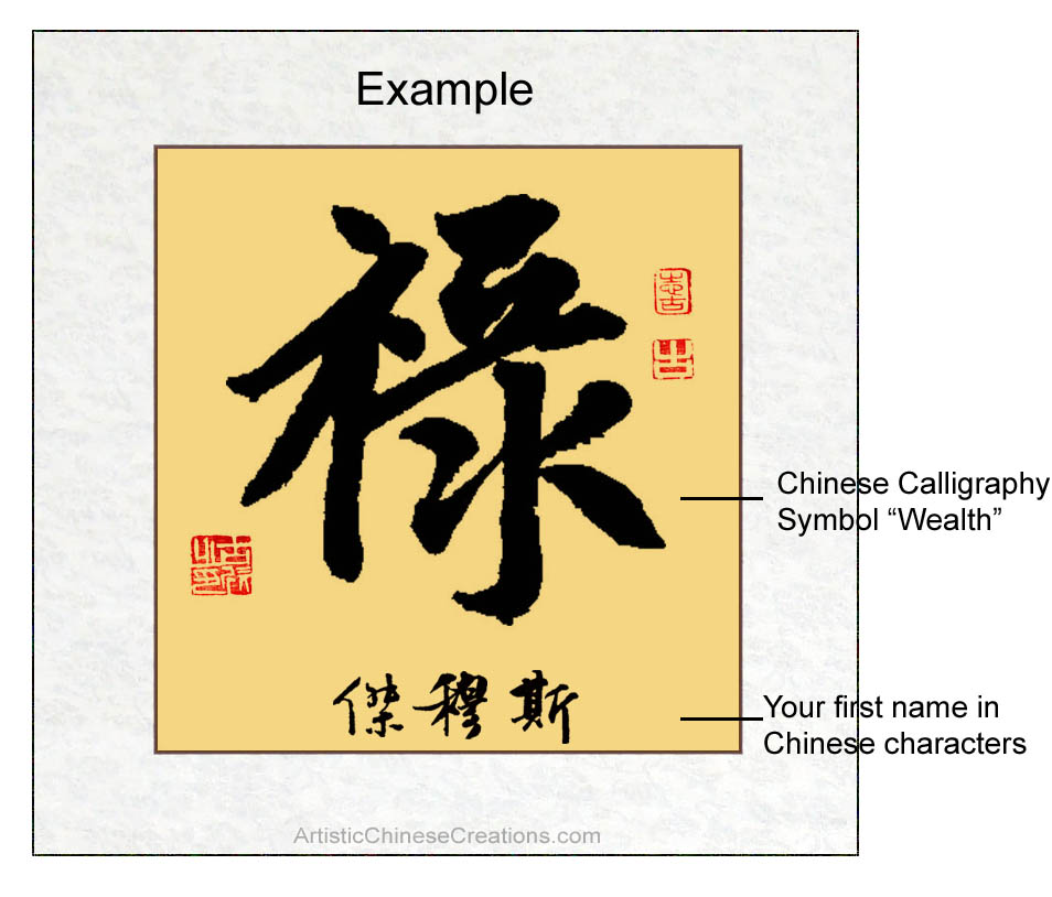 Custom chinese calligraphy wealth symbol chinese name custom chinese calligraphy wealth symbol chinese name translation personalized chinese calligraphy expocarfo Gallery