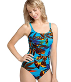 Amoena Jamaica Pocketed Tank Swimsuit, Turquoise/Multi