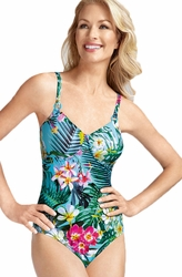 Amoena Sydney Pocketed Tank Swimsuit, Turquoise/Multi