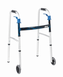 "Drive Deluxe, Trigger Release Folding Walker, Adult, with 5"" Wheels"