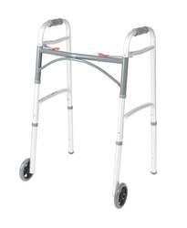"Drive Universal Deluxe Folding Walker, Two Button with 5"" Wheels"