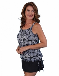 Jodee Cracked Crystal Pocketed Blouson Top, Misses (Style 2083)