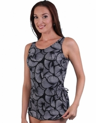 Jodee Cracked Crystal Soft Cup Pocketed Sarong Swimsuit, Misses (Style 2087)