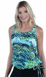 Jodee Green Sea Pocketed Blouson Top, Misses (Style 3028)