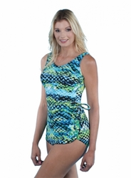 Jodee Green Sea Soft Cup Pocketed Sarong Swimsuit (Style 3036)