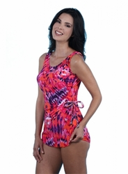 Jodee Red Hot Soft Cup Pocketed Sarong Swimsuit, Women's (Style 3035)