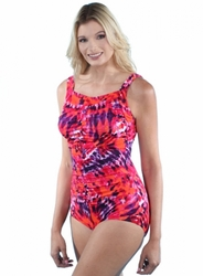 Jodee Shirred Girl Leg Tank Soft Cup Pocketed Swimsuit (Style 3018)