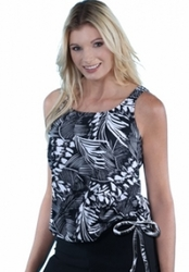 Jodee Tropical Print Pocketed Blouson Top, Misses (Style 3024)