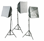 Photography studio 3 Fluorescent Softbox Chromakey Lighting Kit H24S3