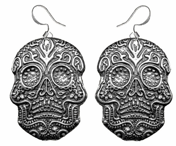 """Dia de los Muertos """"Day of the Dead"""" Pewter Earrings ONLY 1"""