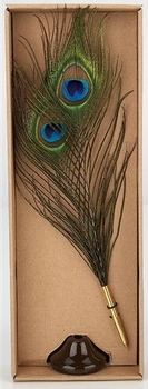 Natural Peacock Feather Ballpoint Pen and Stand  - ONLY 1