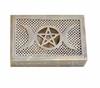 Triple Moon Goddess Pentacle Soapstone Treasure Box