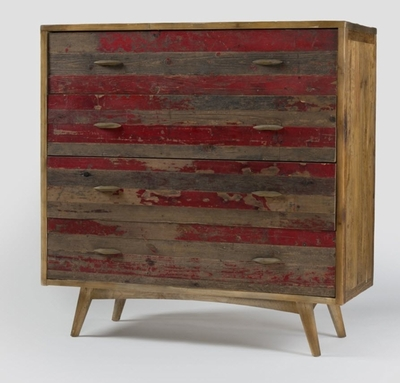 Abelard 4 Drawer Chest (Distressed Red)