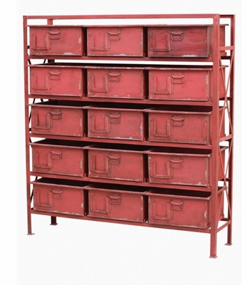 Acelet 15 Drawer Chest (Dark Red)