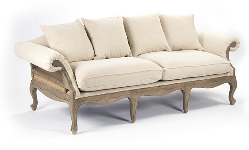 Genial Adele Sofa ( Off White Cotton,Jute)