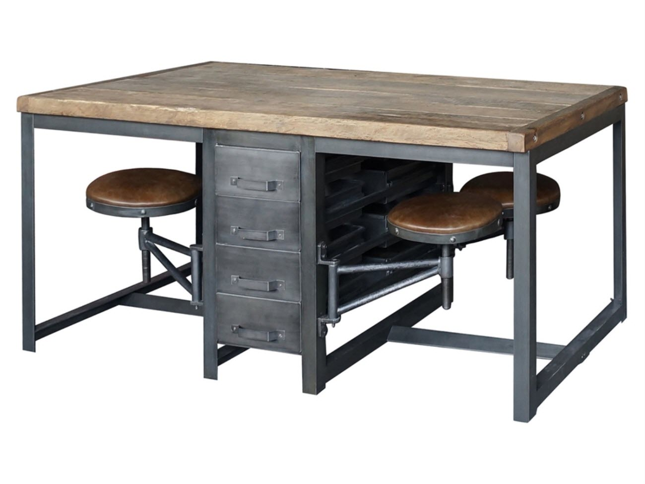 Work table desk rustic black bleached pine alberi for Furniture work table