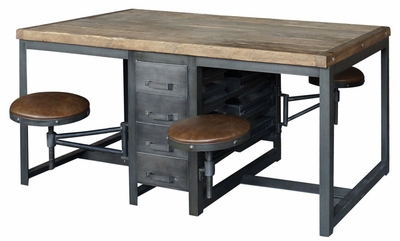 Alberi Work Table Desk (Rustic Black-Bleached Pine)