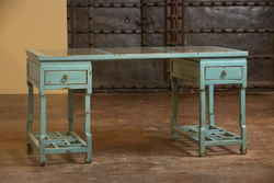 Alfonse Large Lattice Desk with Marble (Aqua)