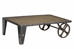 Alvise Iron Wheel Coffee Table
