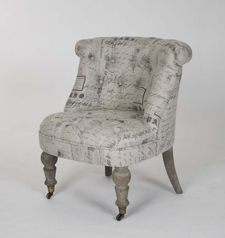 French Country Script Chairs ~ Amelie slipper chair french script fabric zentique chairs