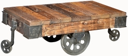 Amerigo Trolley Coffee Table with Metal Wheels
