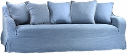 Andrion Slip Covered Sofa (Blue Linen)