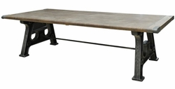"Anjelo 106"" Dining Table (Washed Grey, Brushed Iron)"