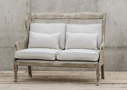 Armel Wooden Wing Settee-Ardennes Pebbles
