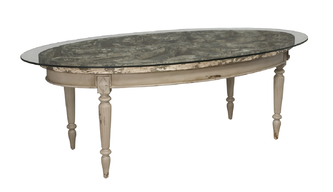 ARTIFACTS OVAL DINING TABLE SIGNATURE ANTIQUE TAUPE GUILDMASTER - Oval dining table for 4