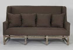 Aubert Sofa (Aubergine Linen-Limed Grey Oak)