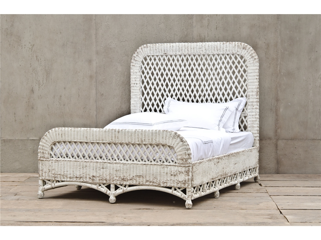 WICKER QUEEN BED (WHITE), AURELIO, SEASONS BEDS
