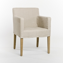 Avignon Slipcover Arm Chair (Natural Linen-Natural Oak)