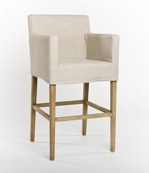 Avignon Slipcover Bar Stool (one pair) (Natural Oak)