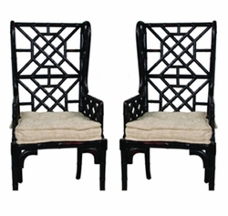 Bamboo Wing Back Chair - one pair