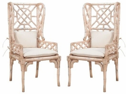 Bamboo Wing Chair - one pair