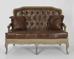 Bastille Settee (Leather/Jute-Stained Oak Wood)