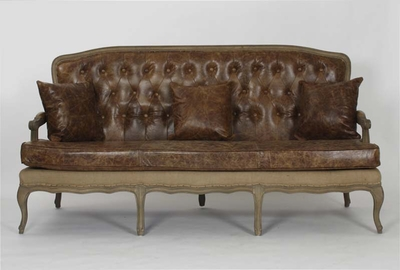 Bastille Sofa (Leather/Jute-Stained Oak Wood)