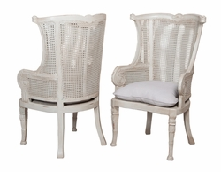 Caned Wing Back Chair - one pair