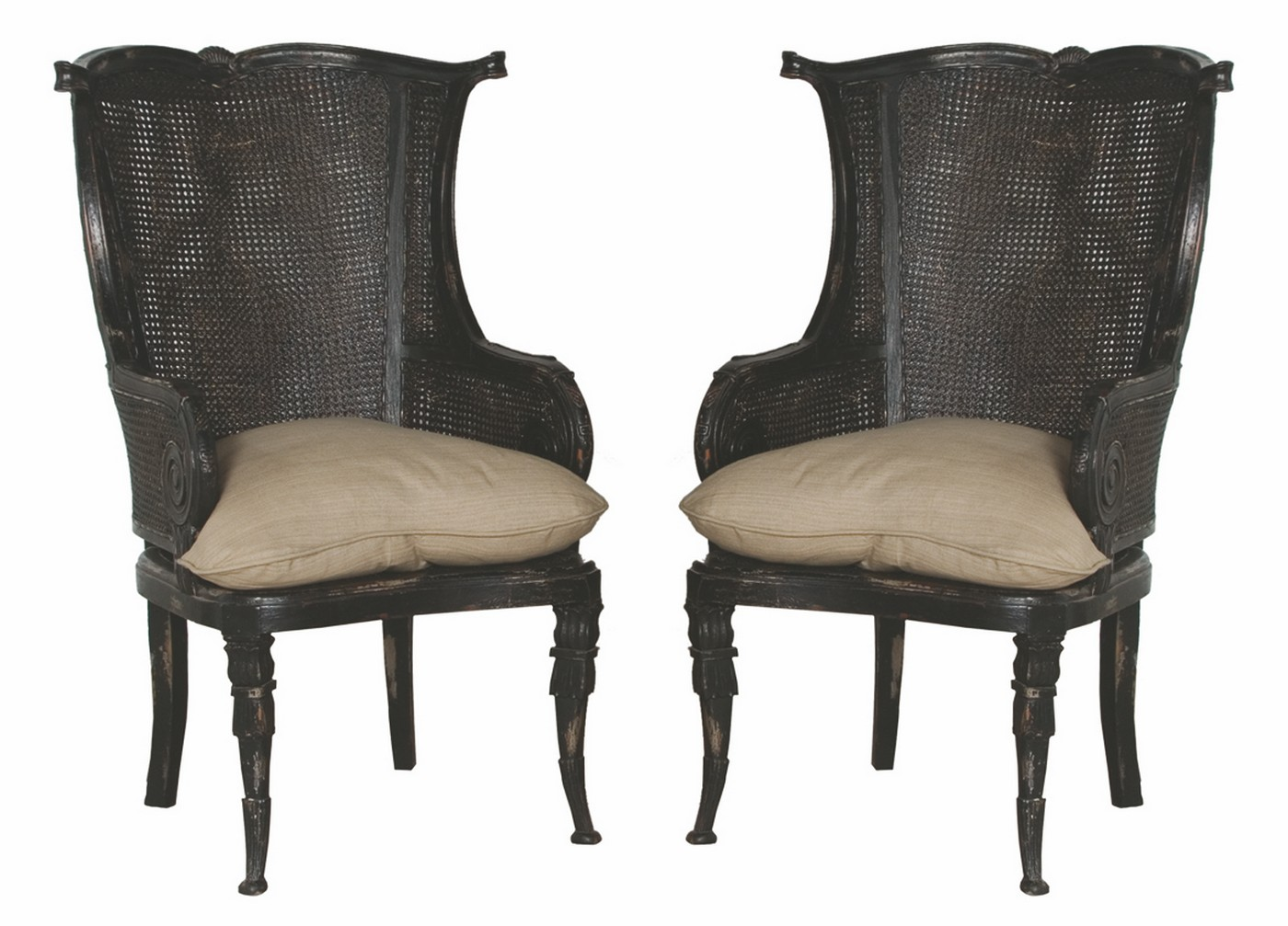 Caned Wing Back Chair   One Pair