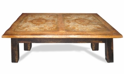 Coffee Table Morocco, Black Distressed & Old World Top